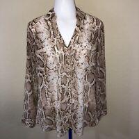 Express White Tan Brown Snake Print Semi Sheer Portofino Career Dressy Blouse M