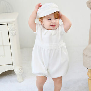 Baby Boys Satin Christening Suit Romper Set and Hat 3 6 9 12 18 Months