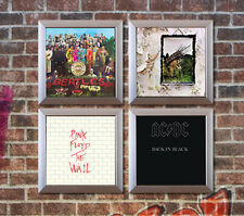 Set of 4 Silver Vinyl Record Wall Display Frames