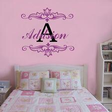 Wall Stickers custom baby Name flowers decal decor Nursery Vinyl home kids room