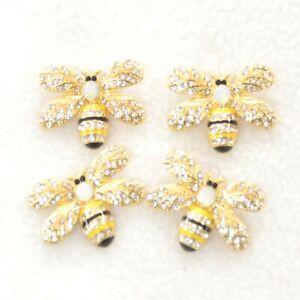 Diamante Bee Button 30mm (1.2in) Gold, Black, White, Yellow
