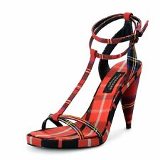 "Burberry ""London"" Women's Canvas Check Ankle Strap High Heels Sandals Shoes"