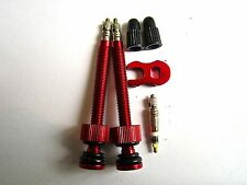 MT ZOOM RED Long 70mm Ultralight Tubeless Valves +FREE spare core & remover