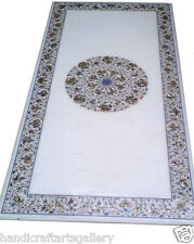 """30""""x60"""" White Marble Dining Table Top Marquetry Semi Precious Home Decor H1992"""