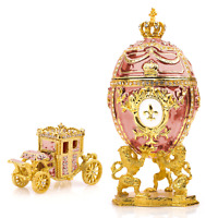 "Royal Imperial Pink Faberge Egg Replica: Extra Large 6.6"" with Faberge carriage"