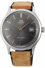Orient FAC08003A0 41 mm Men's Bambino Leather Band Grey Dial Automatic Watch