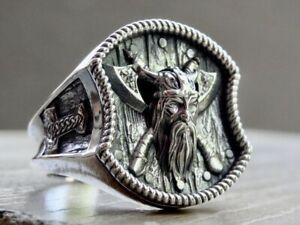 Viking Ring Sterling Silver 925 Thor Hammer Double Axe Odin Handmade Jewelry