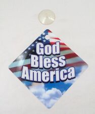 "NOS New Patriotic American Flag God Bless America 5""X5"" Suction Cup Window Sign"