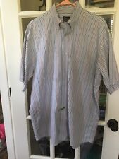 JOS A BANK Men's Stripe Short Sleeve Dress Shirt Size Large