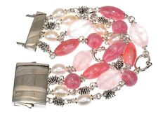 "Michael Dawkins 4 strands Multi-Gemstone Sterling Silver Bracelet fit 7"" long"
