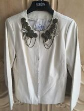 Bradley Bayou Leather Jacket with Zipper Embellishments Cream Size M NWT