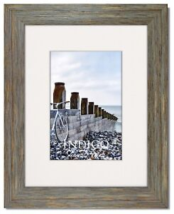One 8x10 Rustic Blue Picture Frame, Glass & White Mat for 5x7