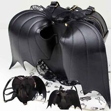 New Women Black Bat Heart Backpack Wing Gothic Punk Lace Shoulder Bag Womens