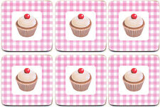 Cupcakes Cup Cake Cork Backed Coasters Set 6 Kitchen Dining Table Decor *New*