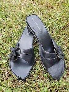 Womens Apostrophe Lynette Black Leather Sandal size 8.5