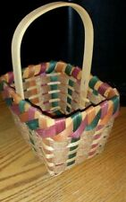 Woven Wicker Basket with Handle, Red & Green, Orange Accents, Felt    8 X 6 X 5