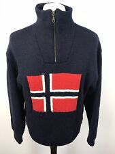 Norwool Of Norway Norwegian Pure Wool 1/4 Zip Jumper Size Medium Mens