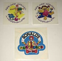 Vtg McDonald's Happy Meal Playplace Stickers Ronald Birdie Fry Guys Kids Lot