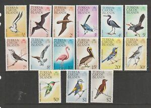 Turks & Caicos Islands 1973 Bird Defs complete UM/MNH SG 381/95