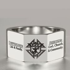 "Of C Tungsten Carbide Ring Signet 12Mm ""Serving God Church Community"" 3-Facet K"