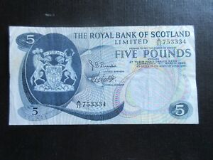 GREAT BRITAIN-ROYAL BANK OF SCOTLAND 1969 ISSUE, £5 DATED 19.03.69, P330,VF 2