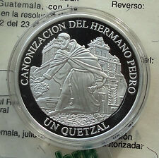 GUATEMALA 1 Quetzal 2002 Silver 1 Oz PF CANONIZATION OF BROTHER PEDRO w/CoA