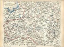Carta geografica antica POLONIA RUSSIA occidentale POLSKA 1890 Old antique map