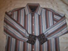 Ted Baker Mens L/S Button Up Blue Red Pink Stripe Flip Cuff Shirt Sz 16.5-34/35