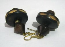 Fantastic Dangle style ethnic design wooden earrings approx 1½ ins long