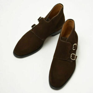 Men's Handmade Boots Double Monk Chukka Brown Suede Leather Hunter Formal Shoes