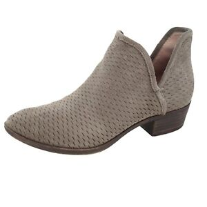 Lucky Brand Baley Suede Taupe/Beige/Grey Perforated Ankle Booties Women Size 7.5