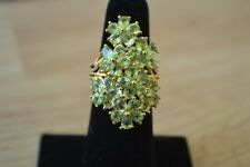 5.85ct  Hebei Peridot Cocktail Ring 14K Yellow Gold over Sterling Silver Size 5