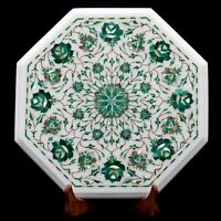 "15"" corner Marble Table Top Precious stone Inlay handmade Work Home Decor,"