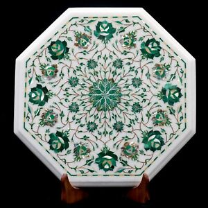 "15"" corner Marble Table Top Precious stone Inlay handmade Work Home Decor,"