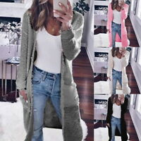 Women Cardigan Trench Coat Jacket Sweater Knitwear Long Sleeve Outwear Tops USA