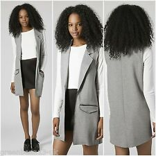 TOPSHOP Raw Edge Sleeveless Grey Waistcoat Gilet Jacket Coat SIZE10/38 SZ Medium