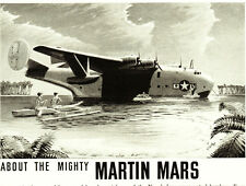 WWII 1944 Ad ~ MARTIN Aircraft ~ 72-ton Mars Flying Boat, World's Largest