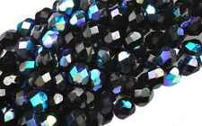 50 BLACK AB GLASS FACETED LOOSE BEADS 6MM