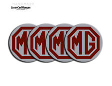 MG ZS ZR ZT Alloy Wheel Centres Caps Badges 57mm MG Logo Badge Burgundy Silver