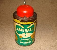ANTIQUE EMERALD NUTS CAN WITH CHOPPER FROM SHELLED CALIFORNIA WALNUTS-ORIGINAL