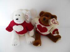 TY 1993 ATTIC TREASURES CASANOVA + NICHOLAS JOINTED VALENTINE HEART BEARS