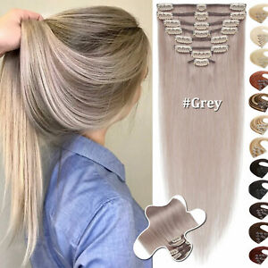 """18""""CLEARANCE Colored Clip In 100% Real Remy Human Hair Extensions Grey Full Head"""