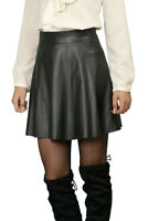 Casual Office Lined Black A-line Faux Leather skirt UK 8 10 12 14 16 18 20 22