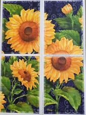 "SUNFLOWERS wall stickers 4 big decals make a panel 15""x11"" flowers room decor"