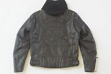 Harley Davidson Men Black Guard Reflective Leather Jacket 3n1 Flame 97109-09VM M