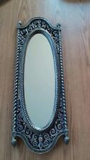 VINTAGE SYROCO ORNATE OVAL WALL MIRROR, 25 IN. TALL BY 8 1/2 IN. WIDE,1973,#2356