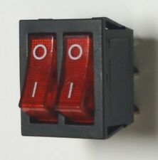 Dual On/Off Power Switch - Red Illuminated - 6 Pin - 15A-250V - Free UK P&P