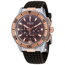 Zenith El Primero Stratos Flyback Brown Dial Rubber Mens Watch 51206140575R516