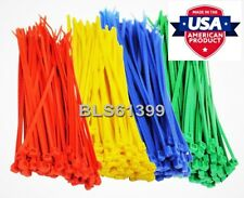 """400 USA Made TOUGH TIES 8"""" inch 50lb Nylon Tie Wraps Wire Cable Zip Ties RGBY"""
