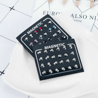 Earrings 12 Pairs Fashion  Rhinestone Clip Non Piercing Crystal Jewelry Magnetic